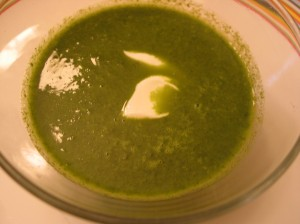 Radish Green's Soup with Spring Garlic